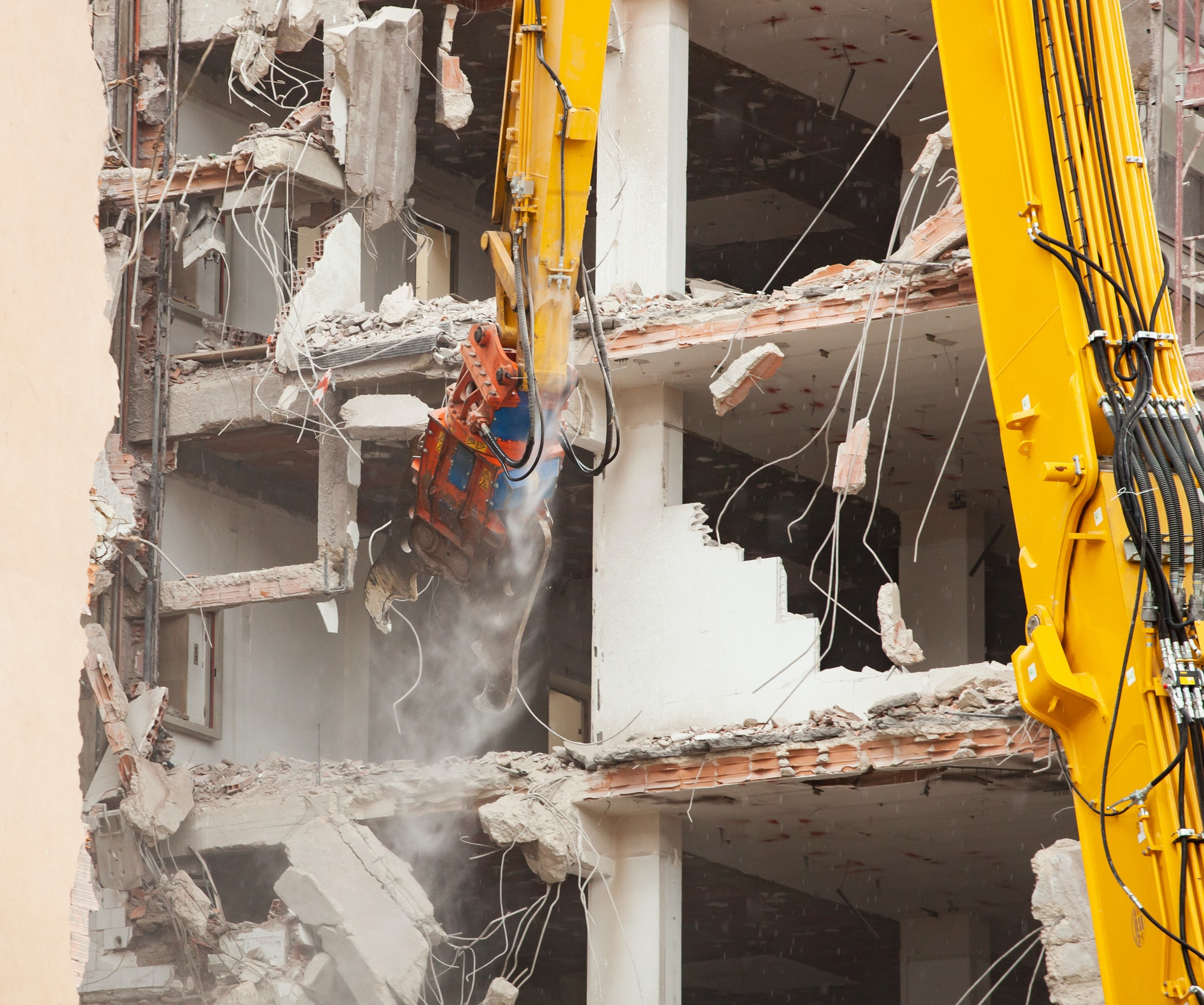 Demolition of a building for new construction.